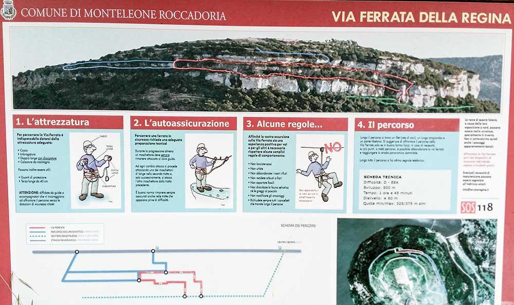 Informačná tabuľa pri nástupe na ferratu. Červenou je ferratový úsek, modrou a zelenou sú turistické chodníky
