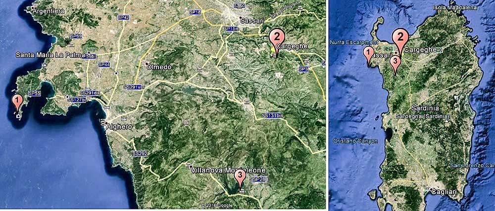 Mapka ferratových lokalít na Sardínii – 1. Cabirol, 2. Giorré, 3. Regina