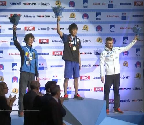 MS 2016 bouldering - stupně vítězů