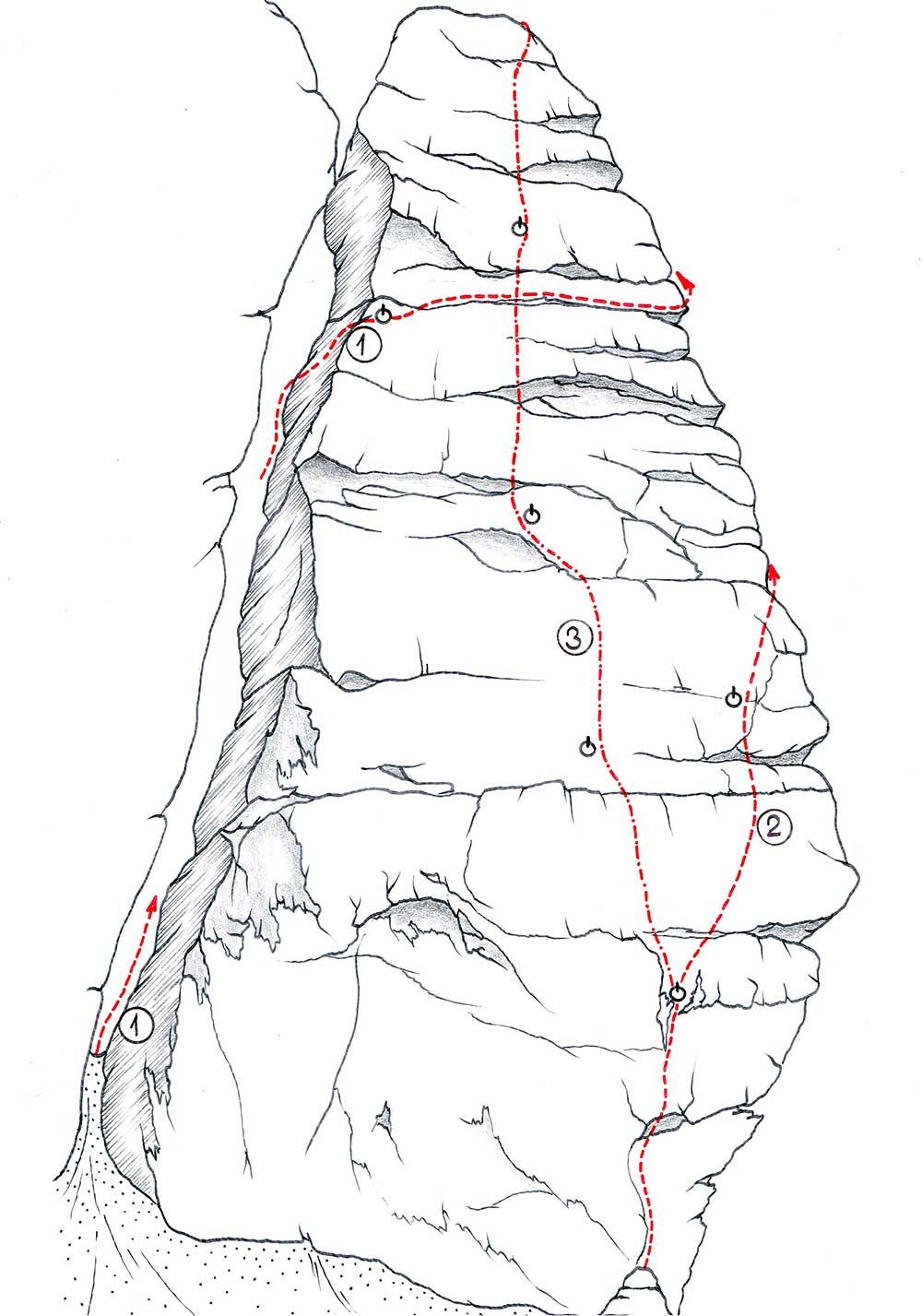 Welzenbachova věž - severní stěna 1 - Údolní cesta - VI 2 - Nanga Parbat 34 - VIIb 3 - Ohníčkáři - VIIIb