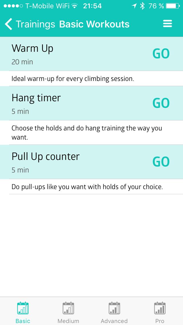 Workouts: Zahřívání, visy, shyby