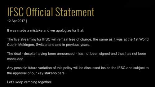 IFSC omluva