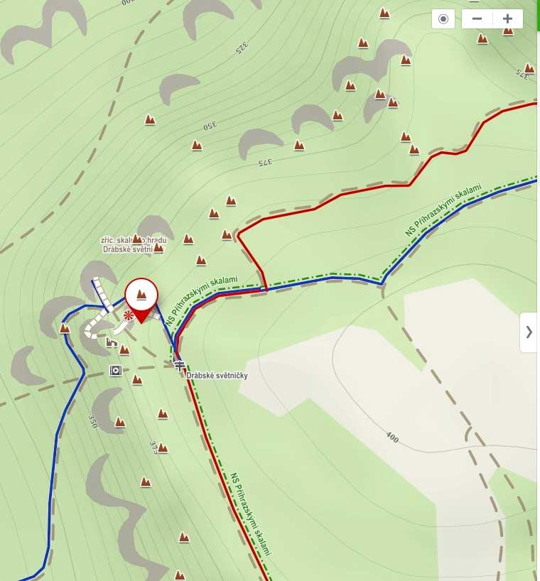 Drábské světničky turistická mapa
