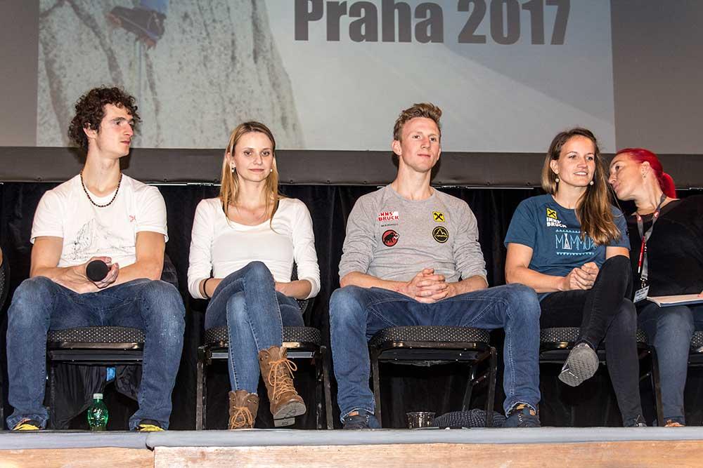 Panelová diskuze: Zleva Adam Ondra, Lucie Hrozová,Jakob Schubert a Anna Stöhr