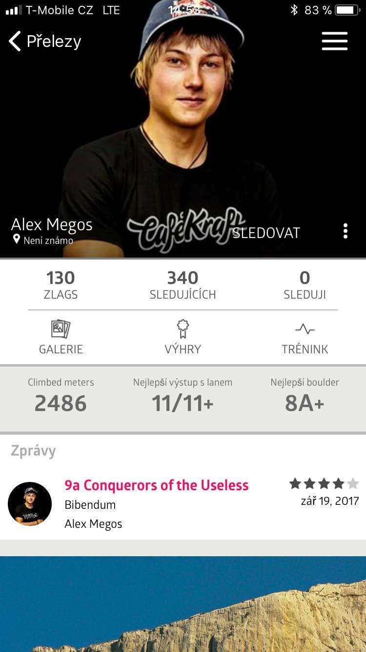 Statistiky Alexe Megose