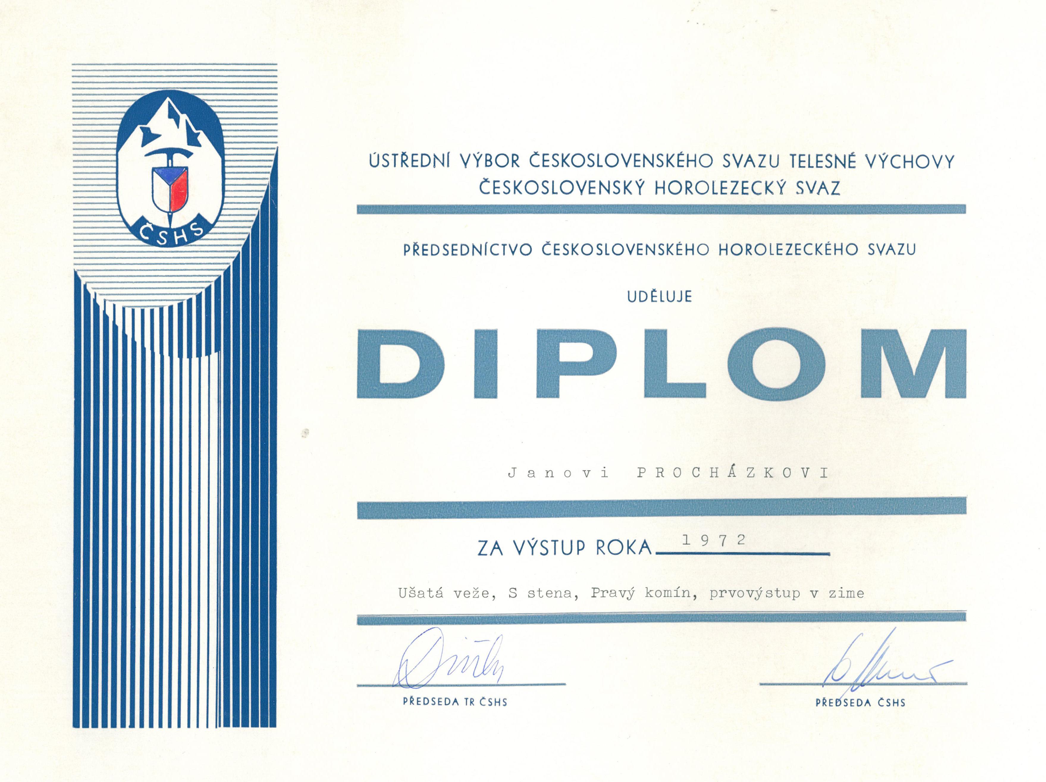 Diplom za výstup roku