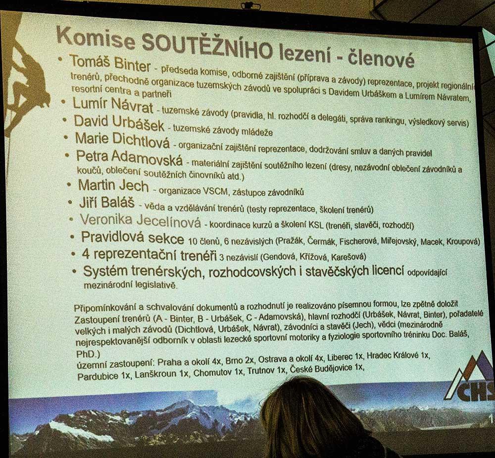 Výroční zpráva - představení Komise soutěžního lezení