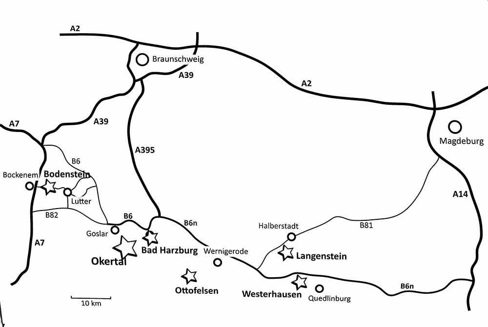 Mapka oblasti Harz