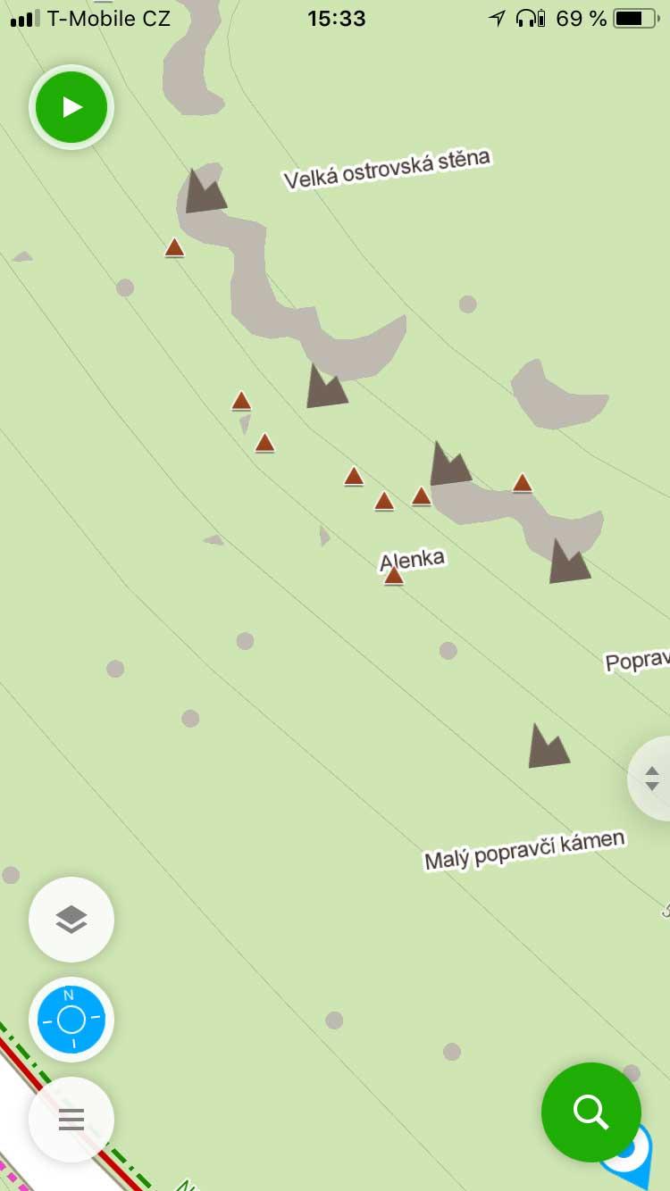 Hnědé trojúhelníčky skal dodaných ČHS jsou teď součástí offline map.