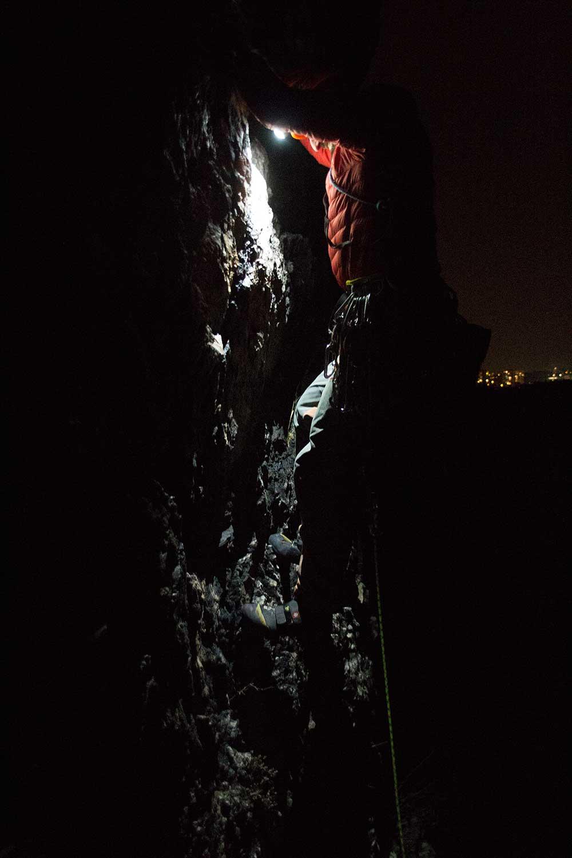 Z testování čelovky při nočním lezení