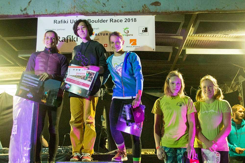 Vítězky zleva: 2. Dana Kotrbová, 1. Veronika Šimková, 3. Zuzana Skřičková, 4. Adéla Bajerová, 5. Anna Šebestíková