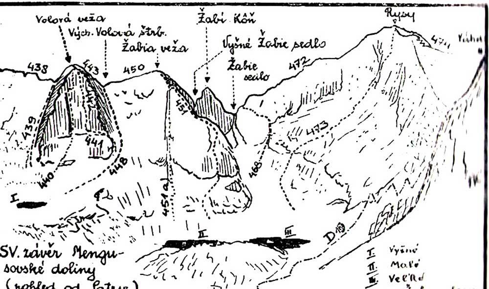 Schéma Volího hřebene z průvodce Kroutil-Gellner r. vydání 1947