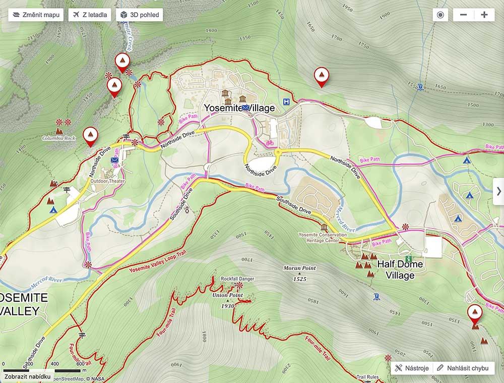 Yosemitské údolí. El Capitan není označen ani jako lezecký terén, ani jako skalní masiv.