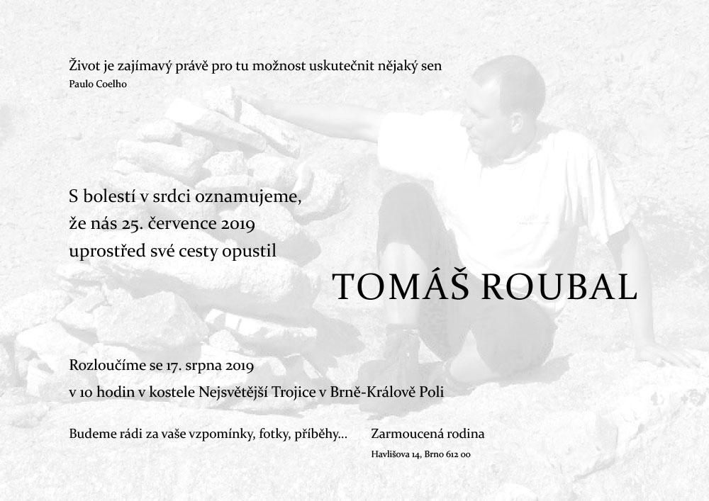 Tomáš Roubal, úmrtní oznámení