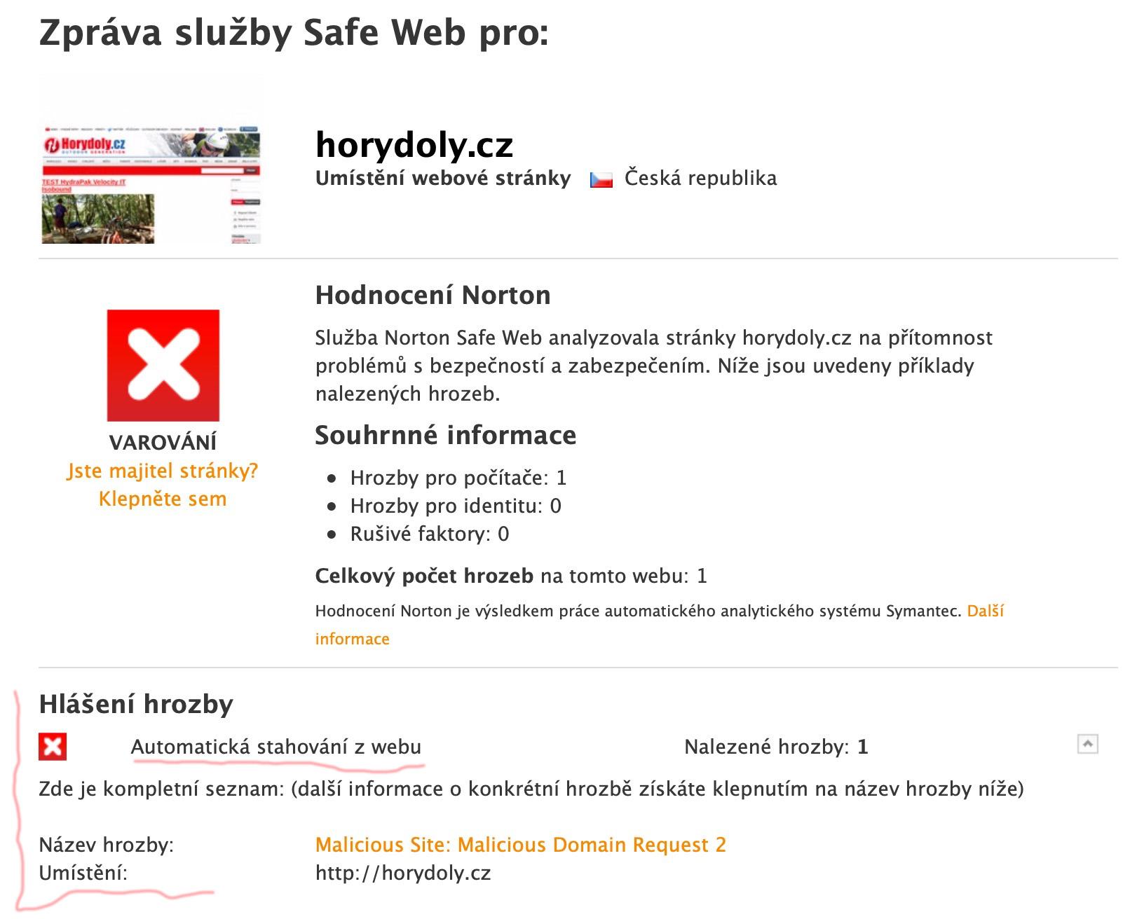 Malware na horydoly.cz