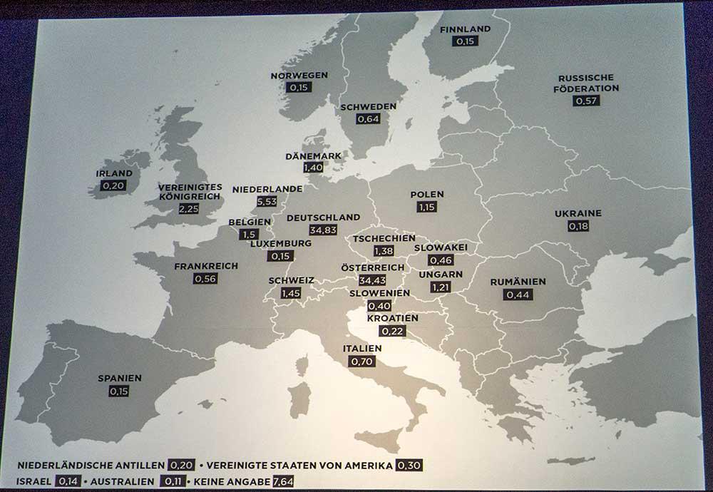 Podíly jednotlivých států na nehodách v Rakousku