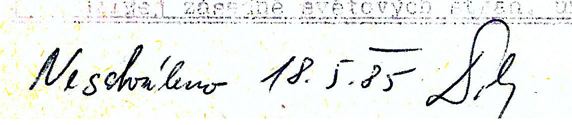 Neschváleno. Čí je to podpis? Proč neschváleno?