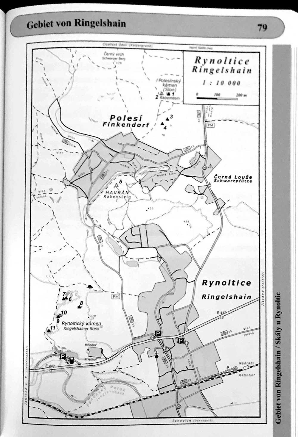Lužické hory mapa Rynoltice