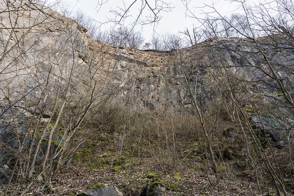 Kačák stěna u cesty - střední část