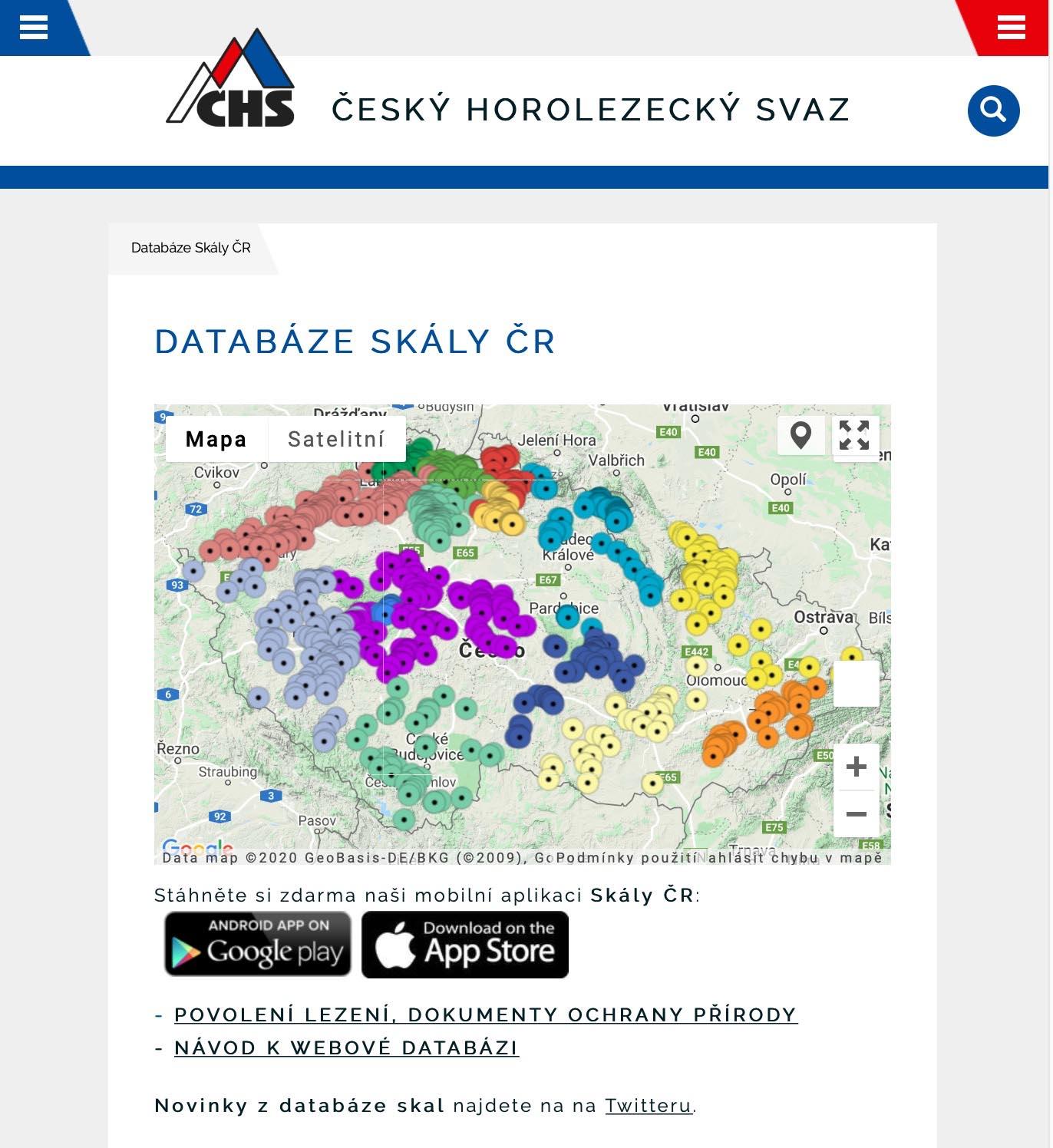 Mapa sektorů na titulu databáze