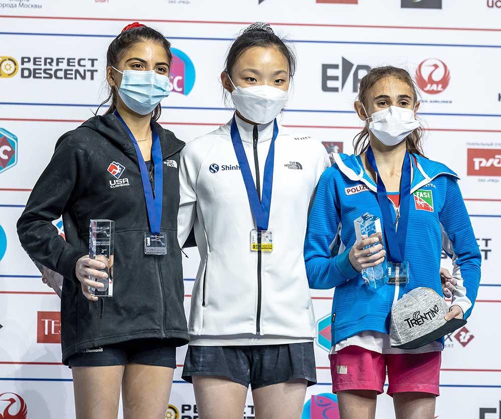 Vítězky obtížnosti, zleva Natalia Grossman, Chaehyun Seo, Laura Rogora